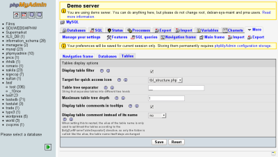 New phpMyAdmin preferences page